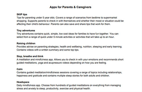 Apps to Support Parents/Caregivers
