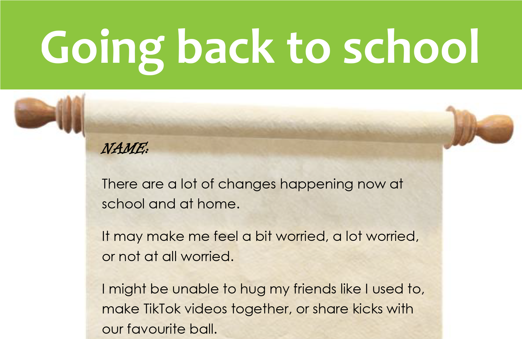 Going Back to School (for older children)