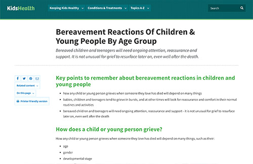 Bereavement Reactions Of Children & Young People By Age Group