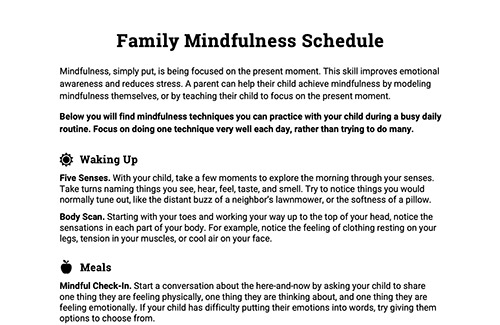 Family Mindfulness Schedule