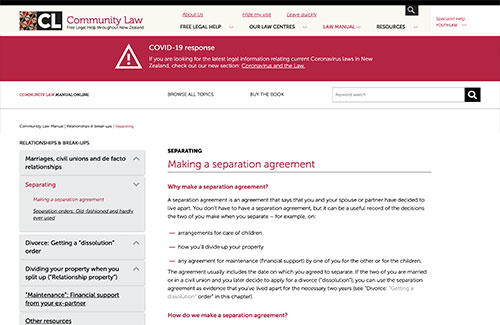 Making a separation agreement