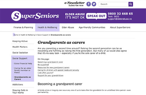 Ministry of Social Development support for Grandparents as caregivers