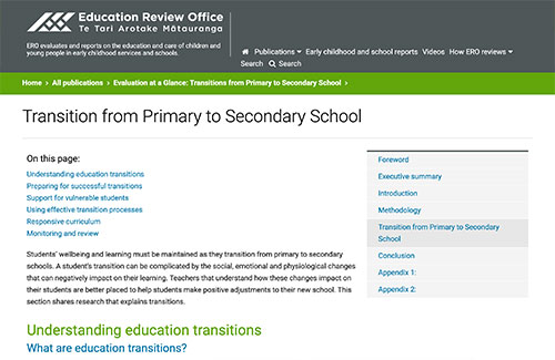 Transition from Primary to Secondary School